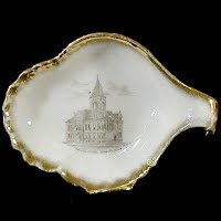 Small Antique Porcelain Dish, 1900 made in Germany, Souvenir of Mankato High School