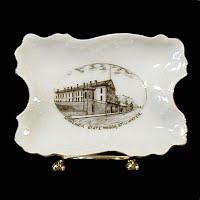 Antique Porcelain Pin Tray, 1900's Austria, Souvenir of Minnesota State Prison Stillwater Mnn