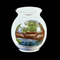 Antique Porcelain Toothpick Holder, Souvenir of Twin Springs Siloam Springs Ark, 1900's Germany