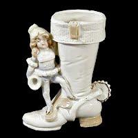 Antique Porcelain Cowboy Boot with Elf, 1910