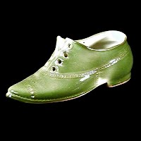 Antique Porcelain Green lace up Shoe, 1900-1910 made in Germany