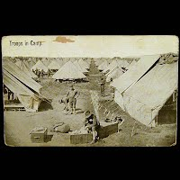 Antique Technor Real Photo Military Postcard, Troops in Camp