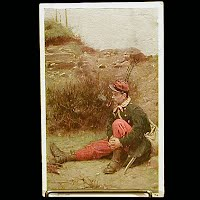 Antique 1909 Postcard, Soldier
