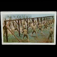 Antique Postcard 1913, Bayonet Exercise Camp Shelby Hattiesburg Miss
