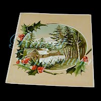 Antique Ephemera Winter scene Card