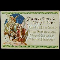 Antique Ephemera Christmas Card, Christmas Cheer