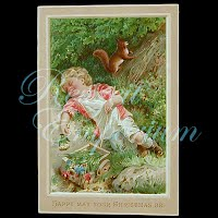 Antique Ephemera Child Sleeping Card
