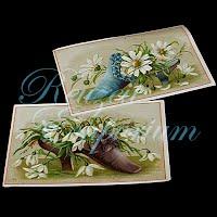 Antique Ephemera Paper Shoes and Flower Decoration Cards