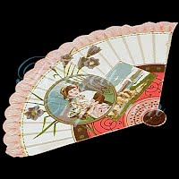 Antique Ephemera fan with scenery and child
