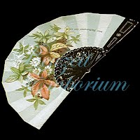 Antique Ephemera Paper Fan with embossed flowers