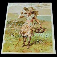 Antique Ephemera, Antique girl with basket card