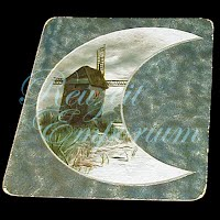 Antique Ephemera, Antique Windmill and Moon card