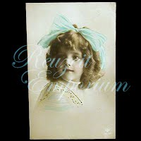 Antique 1910 Girl with Bow Postcard
