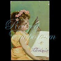 Antique Girl with flowers in hair Postcard