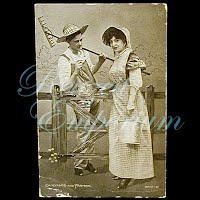 Antique 1914 Dairymaid & Farmer Postcard