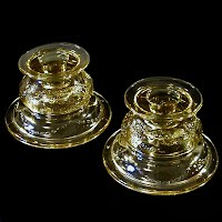 Antique Depression Glass, Amber Madrid Candlestick Holders