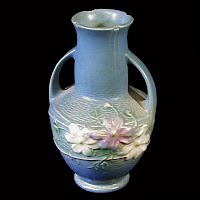 Antique Roseville Pottery Cosmos Blue Vase, 1930's