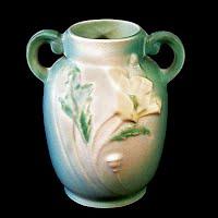 Antique Roseville Pottery Green Poppy Vase, 1930's