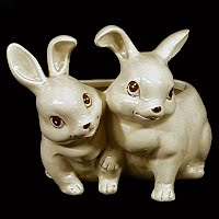 Antique Pottery Twin Bunnies Planter, 1930's
