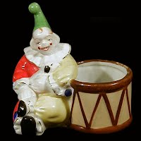 Vintage Pottery Clown with Drum, Japan 1950's