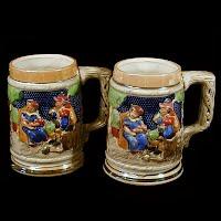 Vintage Pottery Beer Steins, Japan 1950's
