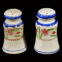 Antique Pottery Handpainted Salt and Pepper Shakers, Japan 1900's