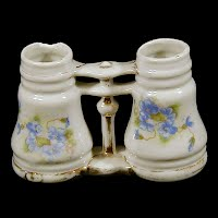 Antique Pottery Binocular Salt and Pepper Shakers, 1900's