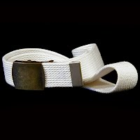 Vintage Antique Navy White cloth belt metal buckle 1940