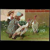Antique 1908 Embossed Thanksgiving Greetings Postcard, Thanksgiving Greetings