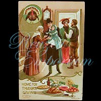 Antique 1909 Embossed Thanksgiving Postcard, Home For Thanksgiving
