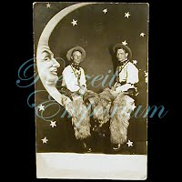 AntiqueReal Photo Cowboys in Moon Postcard