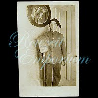 Antique  Real PhotoMan with Broom Postcard