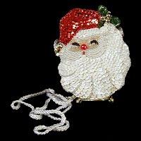 Vintage Handmade Sequined Santa Purse