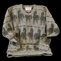 Vintage Hand Knit Teen Girl's Horse Sweater