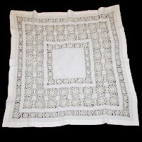 Antique Handmade 1890's Silk and Lace Tablecloth