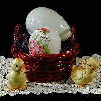 Antique Milk Glass Easter Eggs, Lefton Ducks Basket