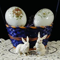 2 Antique Milk Glass Eggs with 2 Lefton Rabbits