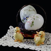 Antique Milk Glass Eggs with Lefton Rabbits