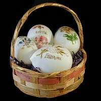 Antique Milk Glass Eggs in basket