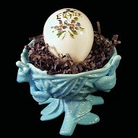 Antique Blue Milk Glass Nest with Antique Milk Glass Egg