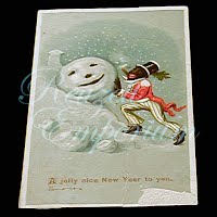 Antique Seasonal Trading Card, Black Man with Snowman, 1890's
