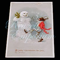 Antique Seasonal Trading Card, Black Man with Snowman, 1890s