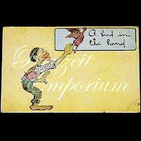 Antique Postcard, Black Cartoon, A Bird in the Hand, 1909