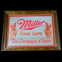 Vintage Miller Beer Sign, Mirror Advertising Sign