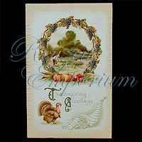 Antique 1910 Embossed Thanksgiving Post Card, Thanksgiving Greetings