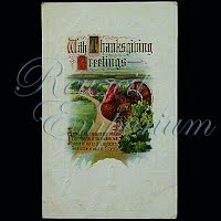 Antique Embossed Thanksgiving Post Card, With Thanksgiving Greetings