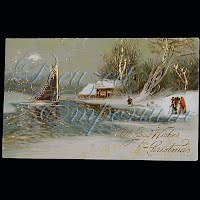 Antique Christmas Post Card, All Good Wishes for Christmas Greetings
