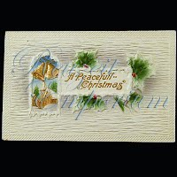 Antique Embossed Christmas Post Card, A Peaceful Christmas