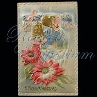 Antique 1916 Embossed Christmas Post Card, Merry Christmas