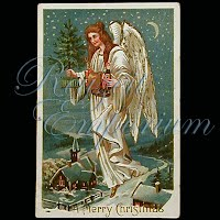 Antique Christmas Angel Post Card, A Merry Christmas